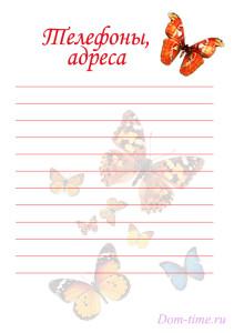 Шаблон КЖ Бабочки - телефоны