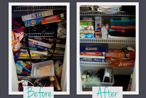 Организация бельевого шкафа - до и после фото